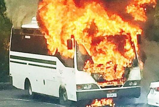 Burning bus in kaliyar